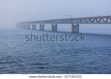 The bridge between Denmark and Sweden, Oresundsbron, in the first day of the year 2016