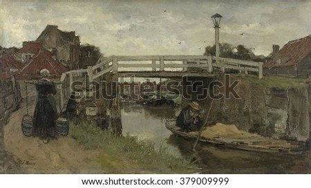 The Bridge, by Jacob Maris, c. 1879, Dutch painting, oil on canvas. Peasant Woman carries two pails of milk with a yoke, while a man in small sand barge lights his pipe. Scene near The Hague was begun - stock photo