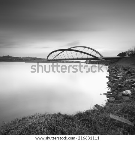 The Bridge in black and white . Image has soft focus and certain noise - stock photo