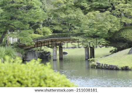 The Bridge In The Garden - stock photo