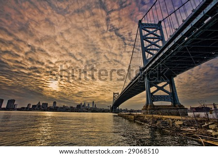 The bridge leading to Philadelphia with a beautiful sunset