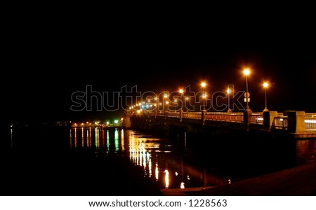 The Bridge of Lions. St. Augustine, Florida. Night. - stock photo