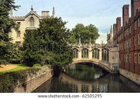 The Bridge of Sigh at  Saint John's College, Cambridge. - stock photo