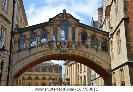 the Bridge of Sighs in Oxford, England - stock photo