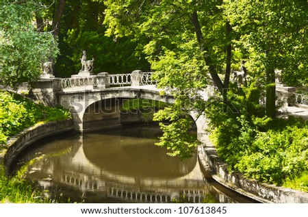 The Bridge Of The Centaurs in Pavlovsk Park near Saint Petersburg, Russia - stock photo