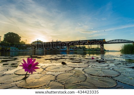 The Bridge of the River Kwai Kanchanaburi in Thailand - stock photo