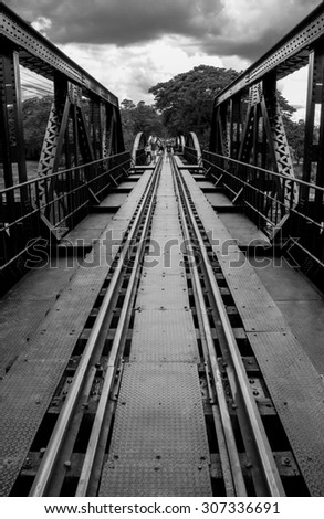 The Bridge on River Kwai, Thailand - stock photo