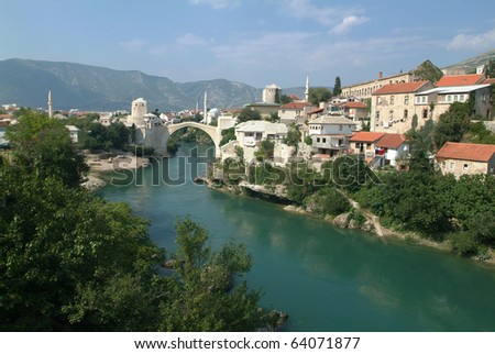 The bridge over Neretva river on Mostar