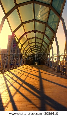 The bridge over road - stock photo