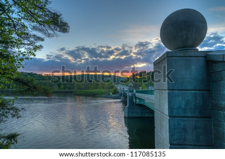 The Bridge Over the Connecticut River During Sunset - stock photo