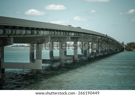 The bridge over the ocean. Road to Key West. Toned. - stock photo