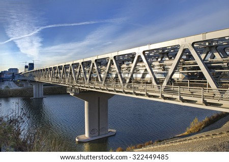 The bridge through the river for the high-speed train. Transport infrastructure.