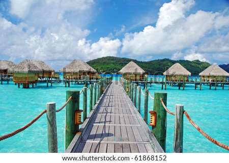 the bridge to over water bungalow - stock photo