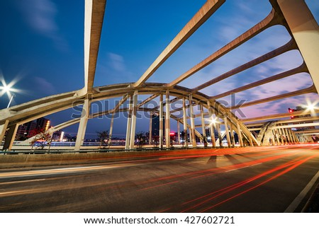 the bridge  view at shanghai china - stock photo