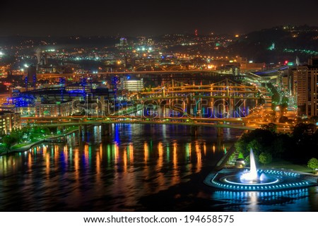 The bridges over the Allegheny River, Pittsburgh, Pennsylvania. - stock photo