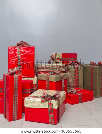 The bright boxes with gifts.