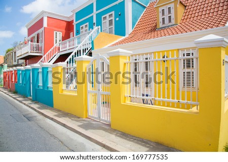 The bright colors of the dutch architecture in the city of Willemstad, Curacao. - stock photo