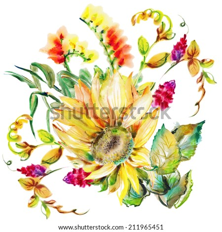 """The bright flower of a sunflower drawn with watercolor paints. Album """"Bouquet of flowers."""" """"Autumn fall""""."""" Sunflower."""" - stock photo"""
