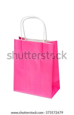 The bright pink paper package, bag for gifts or purchases isolated on the white - stock photo