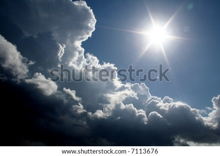 The bright sun after storm - stock photo