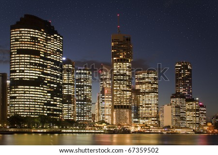 The Brisbane and the River of Brisbane with start on the sky - stock photo