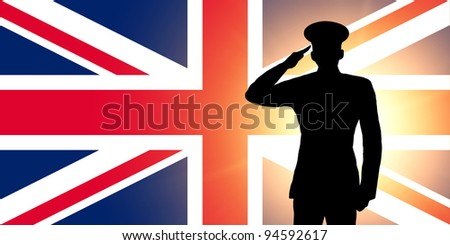The British flag and the silhouette of a soldier's military salute - stock photo
