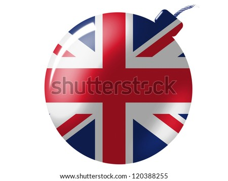 The British flag painted on bomb icon - stock photo