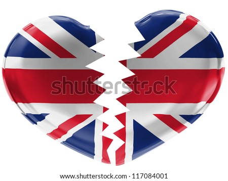 The British flag painted on 3d broken heart - stock photo