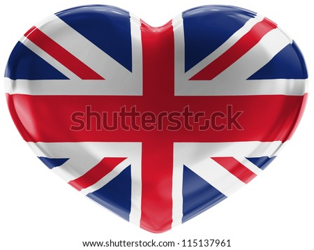 The British flag painted on 3d heart symbol on white background - stock photo