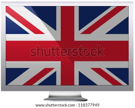 The British flag painted on grey aluminum monitor - stock photo
