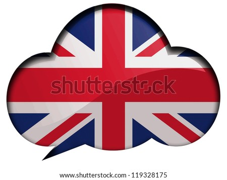 The British flag painted on speaking or thinking bubble - stock photo