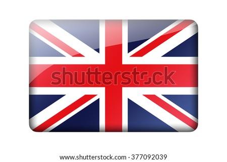 The British flag. Rectangular glossy icon. Isolated on white background. - stock photo