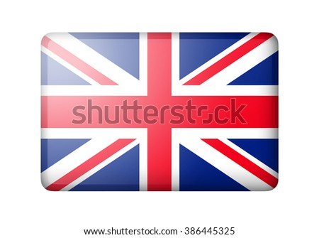 The British flag. Rectangular matte icon. Isolated on white background. - stock photo