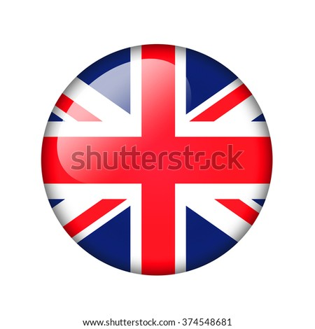 The British flag. Round glossy icon. Isolated on white background. - stock photo