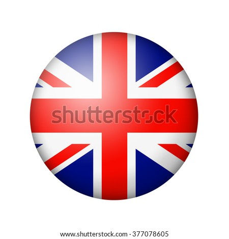The British flag. Round matte icon. Isolated on white background. - stock photo
