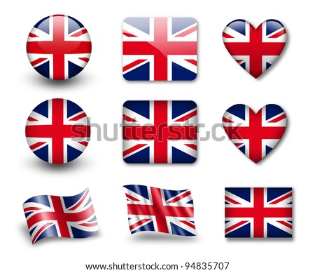 The British flag - set of icons and flags. glossy and matte on a white background. - stock photo