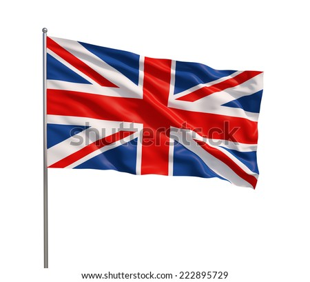 The British flag waving in the wind, isolated on white background. - stock photo