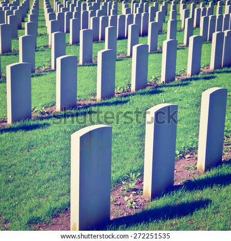 The British Military Cemetery in Bavaria, Germany, Instagram Effect - stock photo
