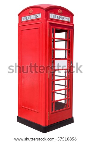 The British red phone booth isolated on white - stock photo
