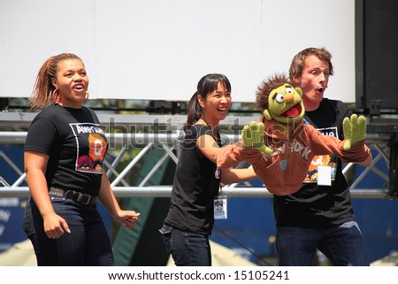 The Broadway at Bryant Park in NYC - a free public event on July 18, 2008 - The cast of  Avenue Q - stock photo