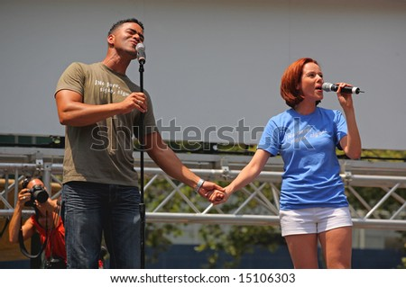 The Broadway at Bryant Park in NYC - a free public event on July 18, 2008 - The cast of In the Heights - stock photo