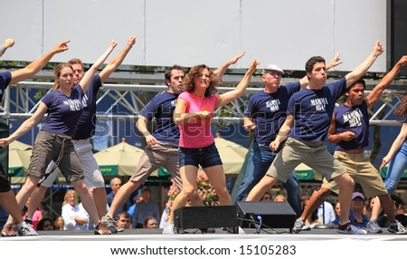 The Broadway at Bryant Park in NYC - a free public event on July 18, 2008 - The cast of Mamma Mia! - stock photo