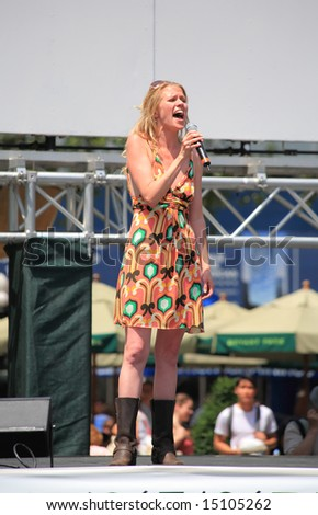 The Broadway at Bryant Park in NYC - a free public event on July 18, 2008 - The cast of Pure Country - stock photo