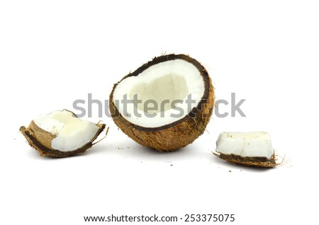 the broken coconut (isolated object on white background)
