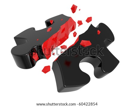 The broken puzzle on a white background - stock photo