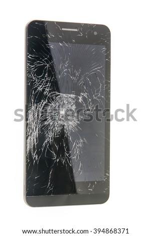The broken smart phone - stock photo
