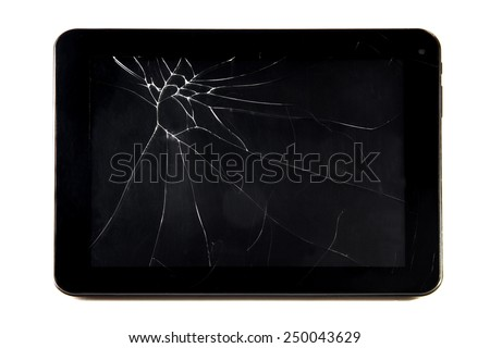 the broken tablet isolated on white - stock photo
