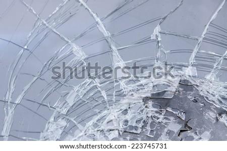 the broken windshield in car - stock photo