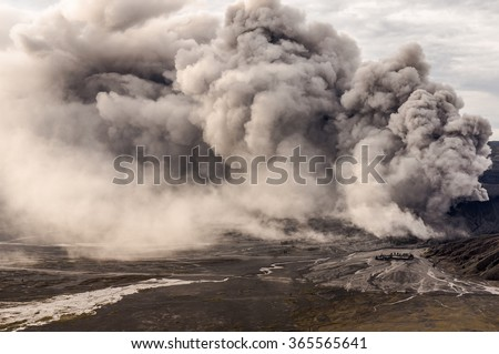 The Bromo volcano eruption, Java, Indonesia - stock photo
