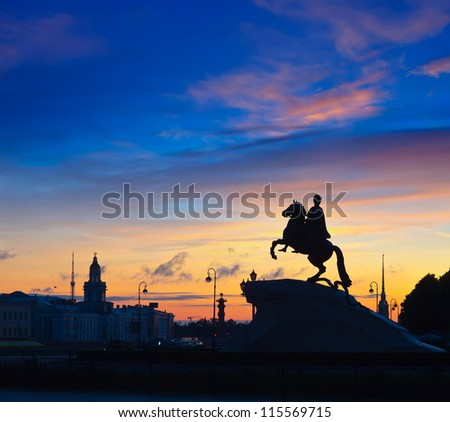 The Bronze Horseman in St.Petersburg, Russia - stock photo